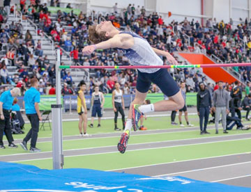 "Sophomore Trevan Meagher clears 5'10"" at the Ocean Breeze Invitational."