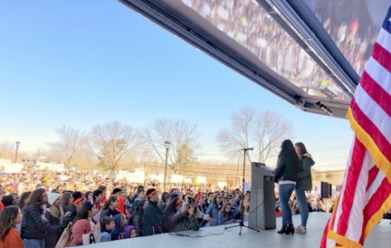 Co-founders of March For Our Lives Long Island Avalon Fenster and Sara Frawley speak to students following a school walk-out organized after the Marjory Stoneman Douglas High School shooting in Parkland, Florida, last year.    Photos/March For Our Lives Long Island