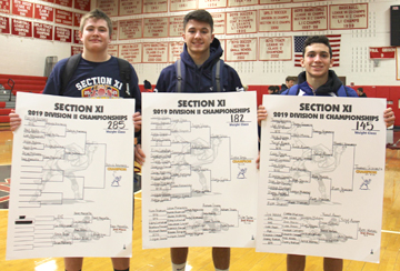 Posing with the brackets showing their path to the title, Elwood-John Glenn wrestler, from left, Patrick Ancewicz, Justin Vega and Thomas Giaramita are Suffolk Division 2 champions.