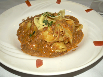 Pappardelle Bolognese  with freshmade pasta and a rich, meaty sauce.