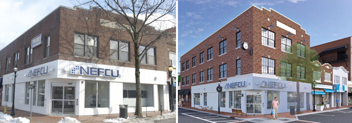Building owner Anthony Zambratto has received planning board approval to go add a third story and convert second-floor office space to apartments at his property on New York Avenue and Elm Street in Huntington Village. Above are the existing building at left; and a rendering of the proposed addition at right.