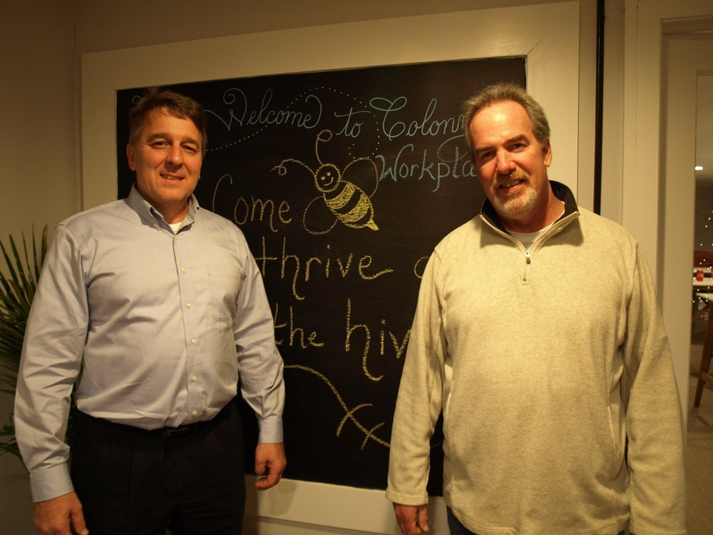 Founders, David Jakubowski and William Cody created Colony Workplaces to bring co-working to Huntington.