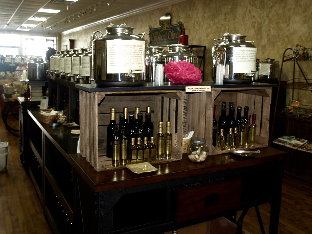 The Crushed Olive sells over 60 flavors of olive oil and balsamic vinaigrettes, that can all be tasted in the store.