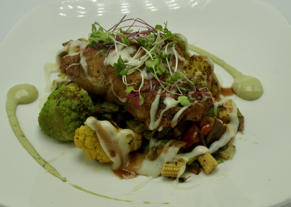 ac18f37d20b Pan- crisped Florida Red Grouper with leek-baby corn and oyster mushroom