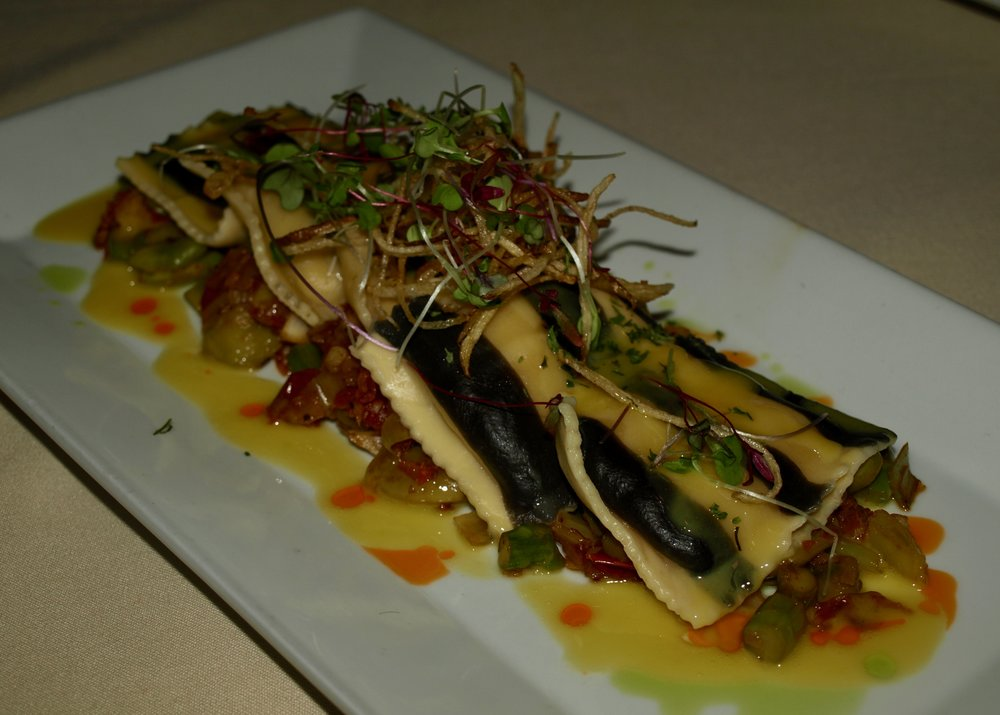 0b7907ba2f2 Striped Maine lobster ravioli with asparagus