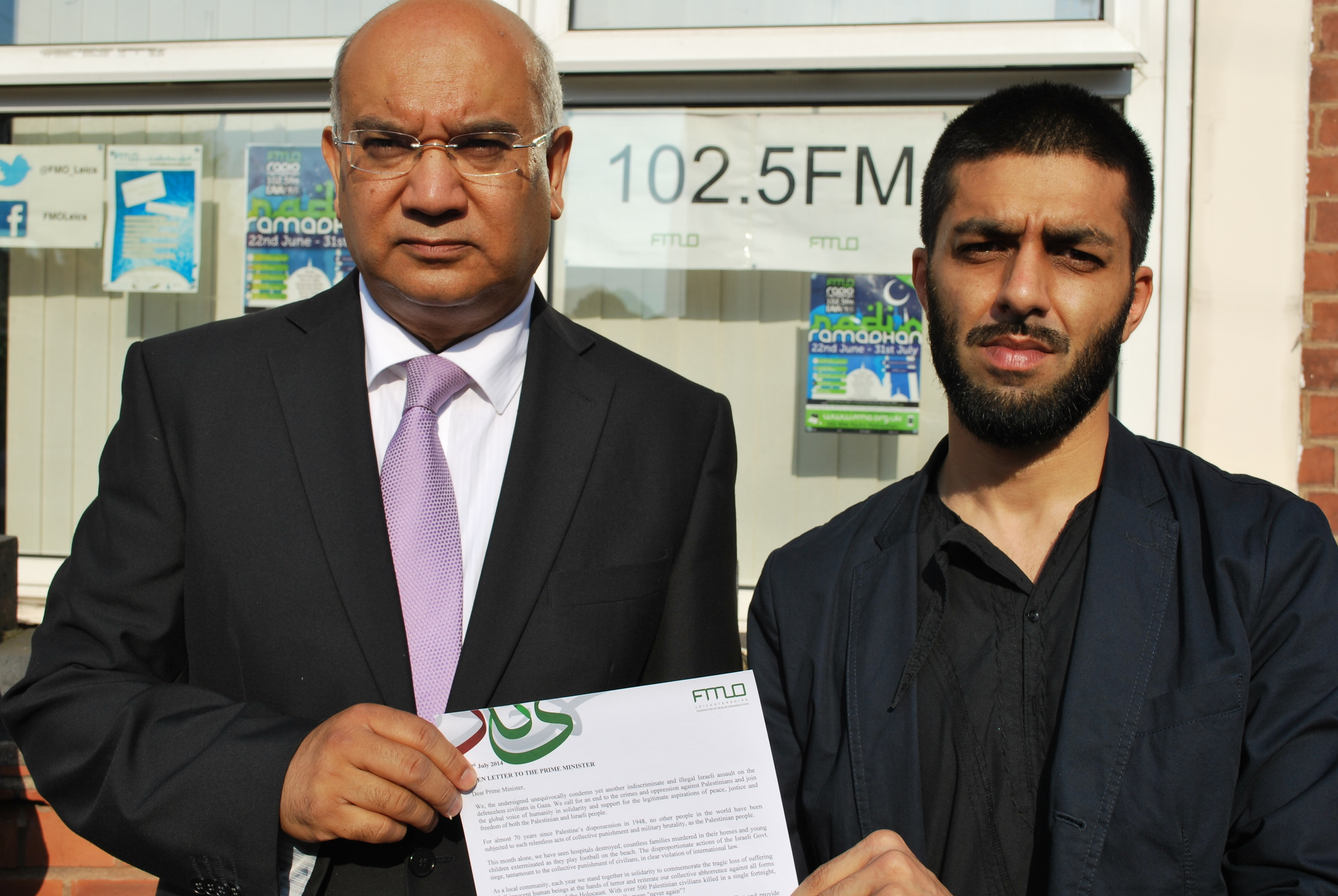 Rt Hon MP Keith Vaz with the Chair of the Federation of Muslim Organisations (FMO) Riyaz Laher with the letter which will be sent to the Prime Minister David Cameron.