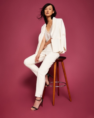 Ted Baker: Layla Pearl Sleeve Blazer £229, Layla Pearl Slim Fit Trousers £129
