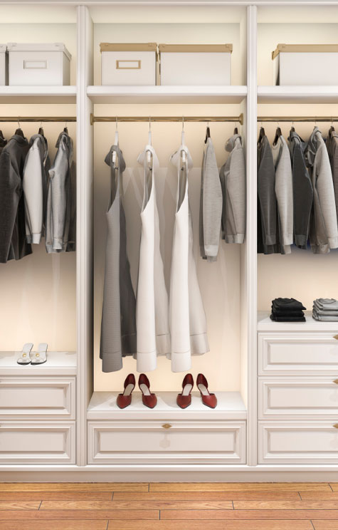 Always Stylish wardrobe review & edit service. Photo of an organised wardrobe consultation.