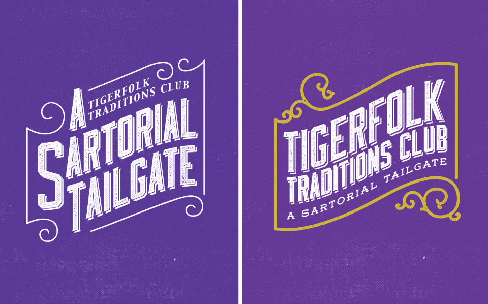 The logo option to the left is the logo that was chosen to be the event logo for A Sartorial Tailgate.