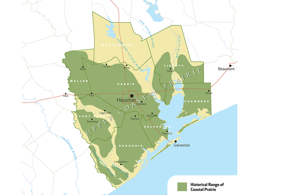 Historical range of coastal prairie in Greater Houston.