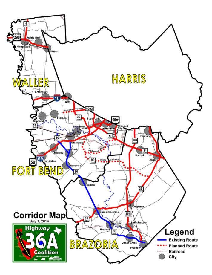 Map, Highway 36A Coalition