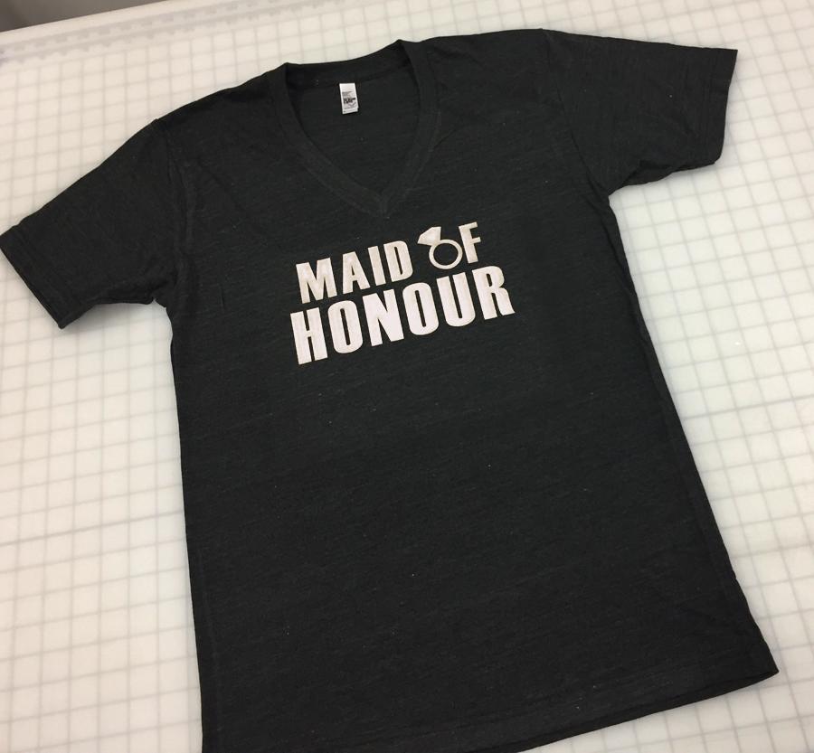 V-neck T-shirt - Option: 6e with White Vinyl Lettering