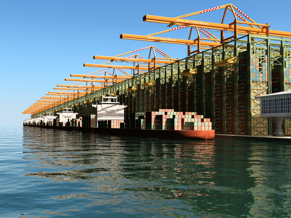 Artist rendering of the SuperDock ™  pier container terminal