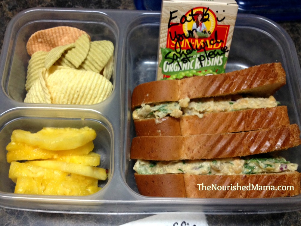 Jackson's lunch on his first day in the three's class at his two-day preschool. We have a peanut-free class this year, so I think we'll be doing a lot of Chickpea Salad Sandwiches.