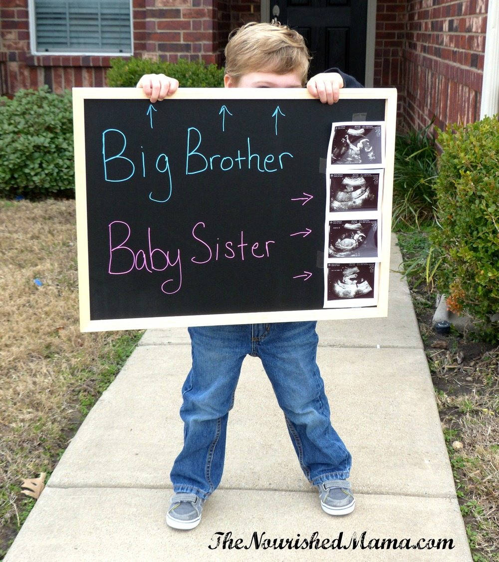 Big Brother, Baby Sister Gender Reveal - The Nourished Mama