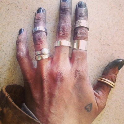 various sterling and 14k gold rings - and the usual state of my hands...