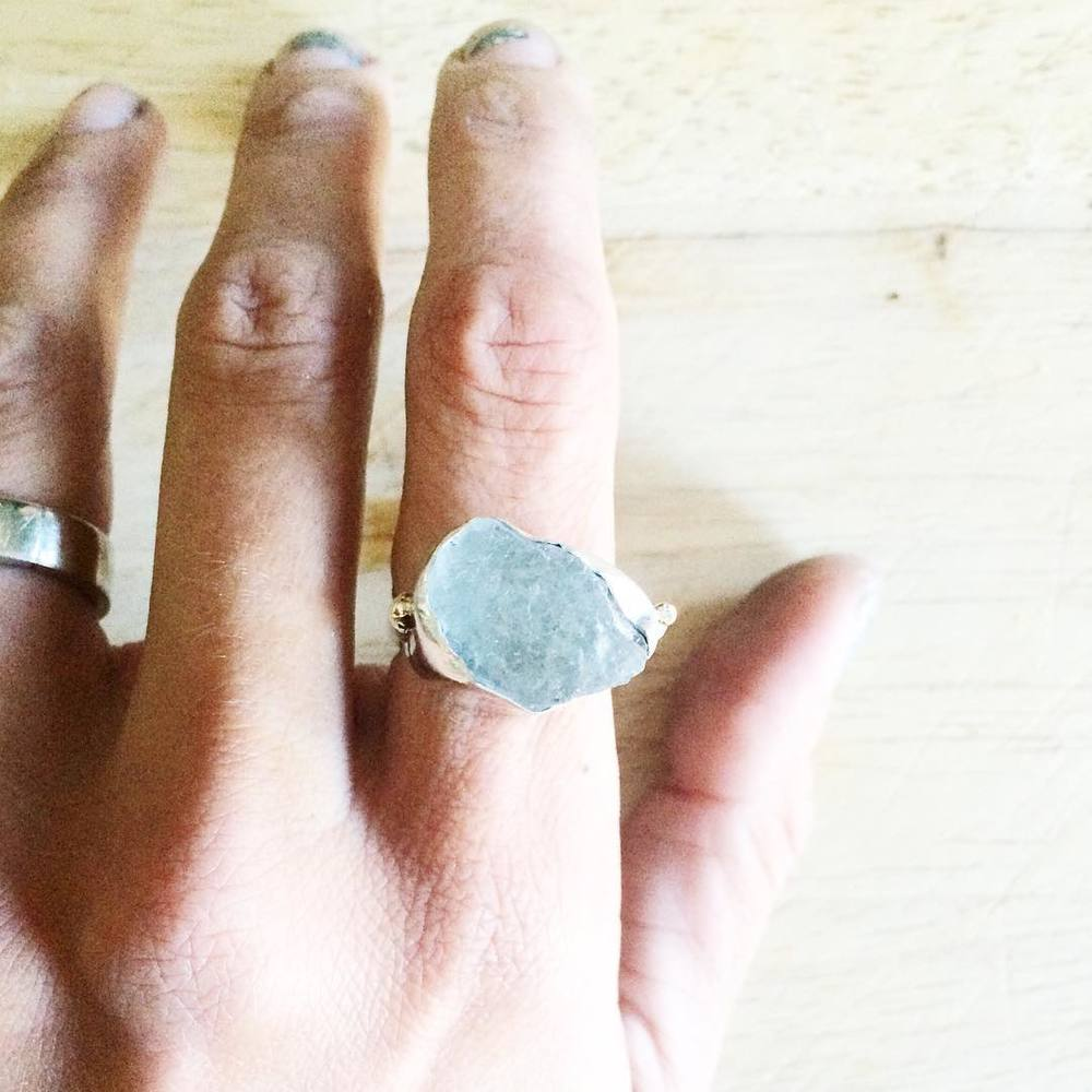 lovinganvil raw aquamarine ring