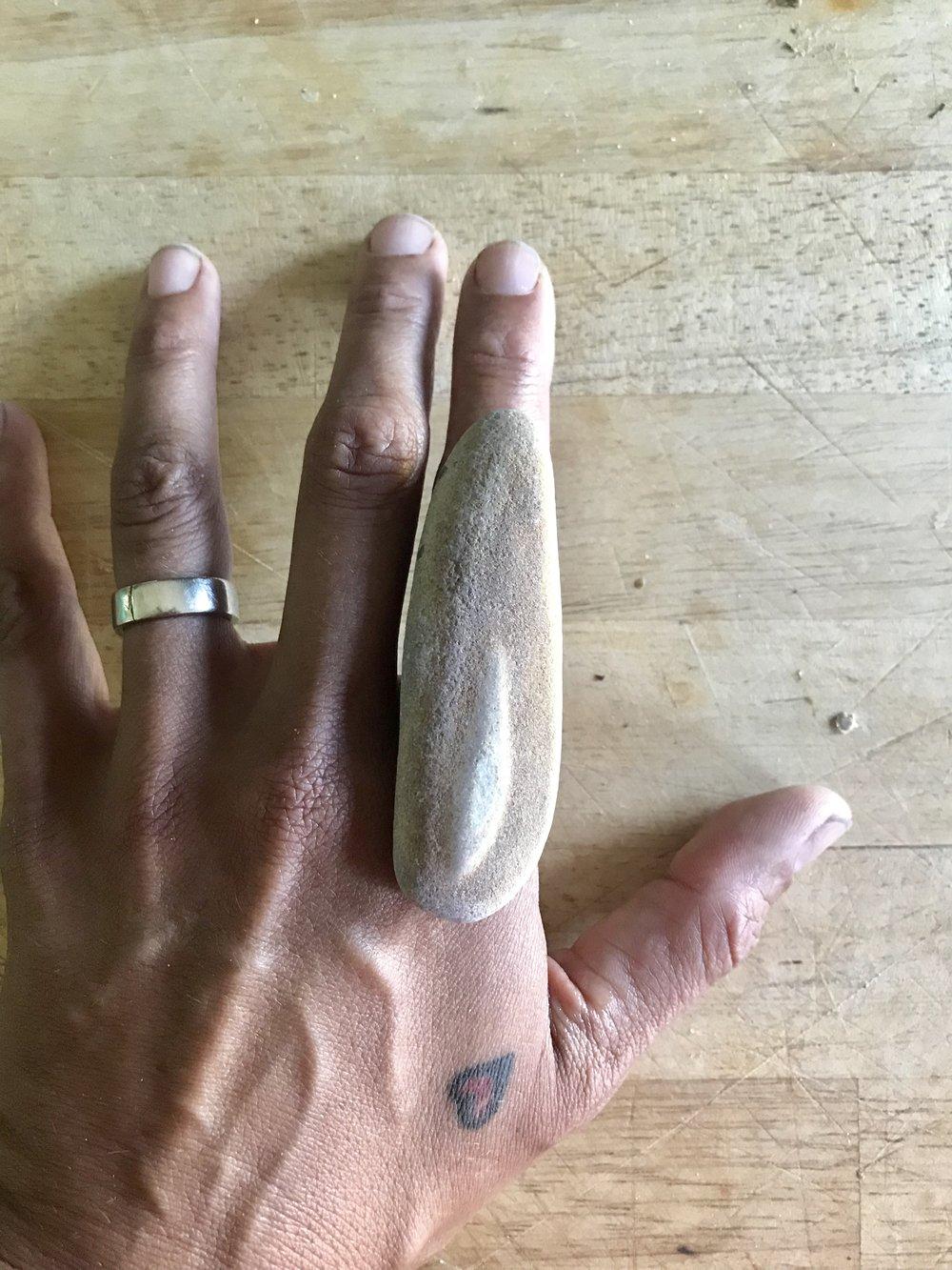 maine beach stone ring on hand