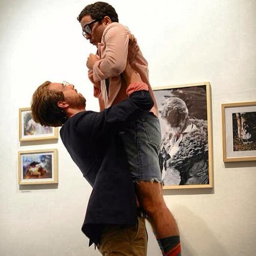 Brian Morabito (Antonio) gives Aaron Lynn (Panthino) a lift