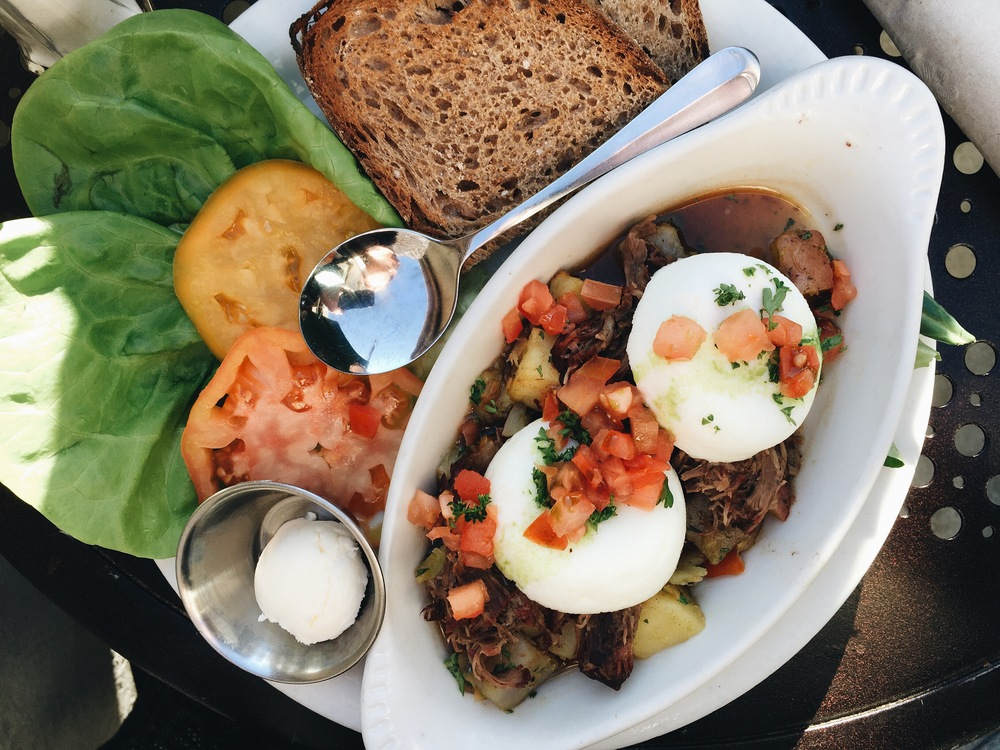 """Natural beef hash"" from Urth Cafe in Santa Monica. AKA first breakfast."