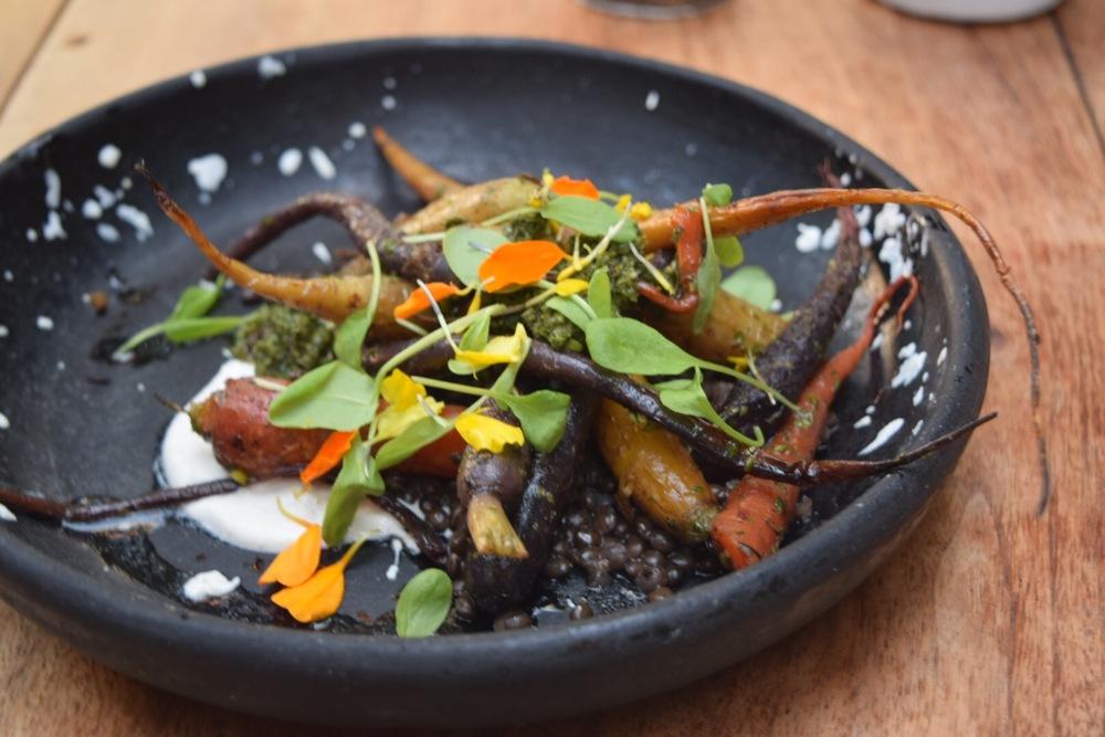Rainbow Carrots. Black Lentils. Chimichurri. Macadamia Coriander Yogurt.