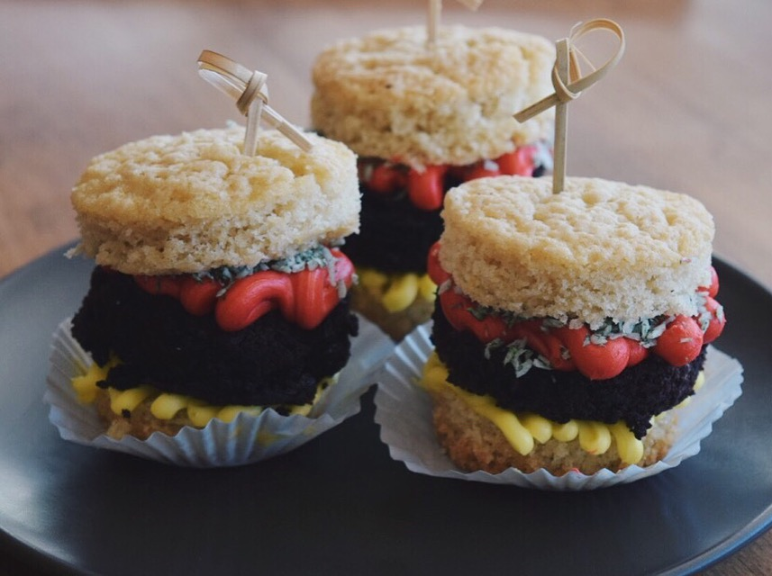 April Fools Day Burger Cupcakes
