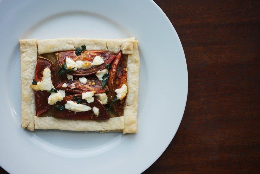 Tomato tart with dijon, chevre, and basil: My staple
