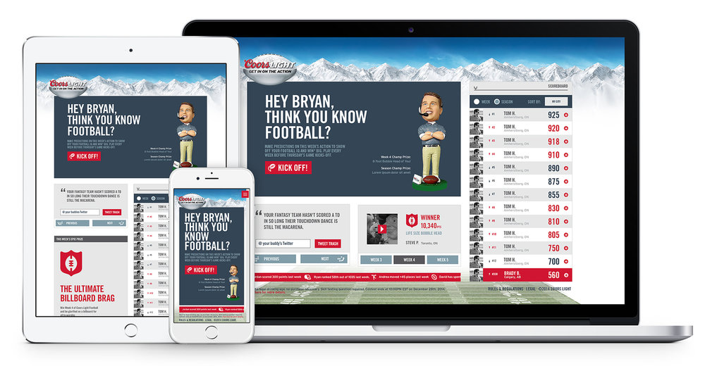 Coors Light Fantasy Football Responsive Site Design