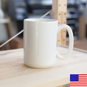 White Glossy Mug 15oz Made in the USA [$17.00]