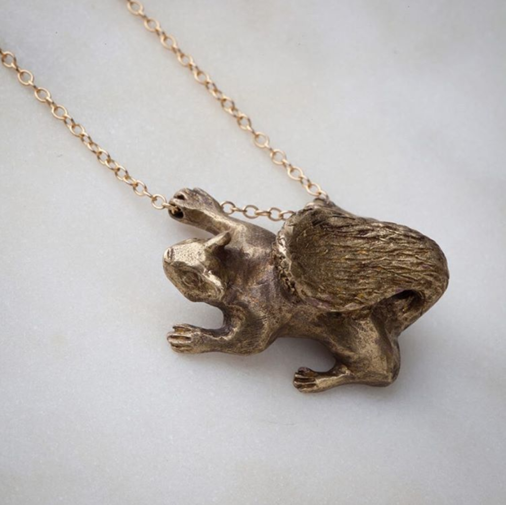 squirrel necklace by Topolski Jewelry