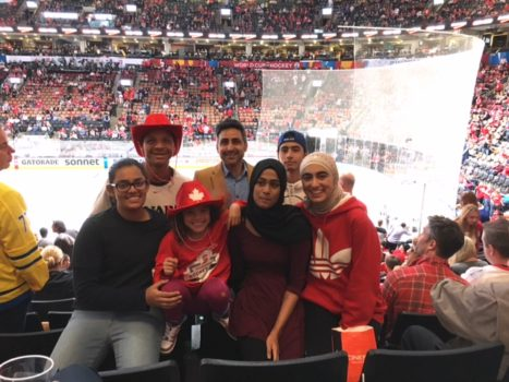 Hockey 4 Youth students (Akbar, Srinidhi & Aya) attend World Cup of Hockey Game (Canada vs. Czech Republic) on Sept 17, 2016. Photo courtesy of Mr. Paul Hillman