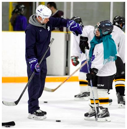 Maya Aldroubi, a new Canadian youth from Syria, skates with Toronto Maple Leafs Hockey Development Coach