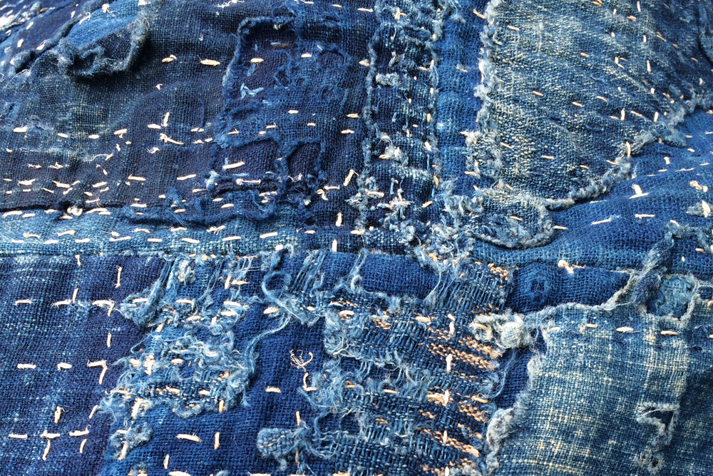 Boro,  mended and patched textile of indigo dyed cotton (detail)