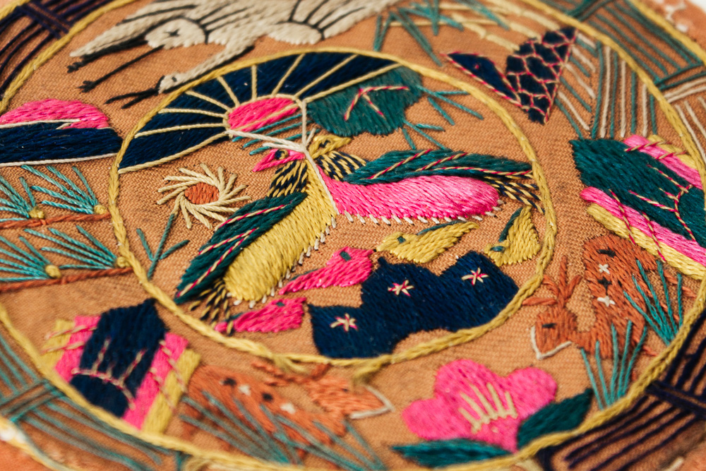 Embroidered Korean pillow end with ten symbols of longevity