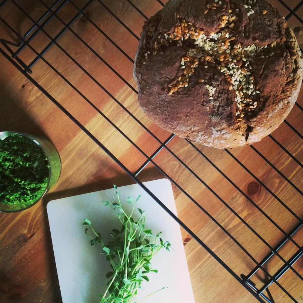 Gluten free crusty bread and kale pesto