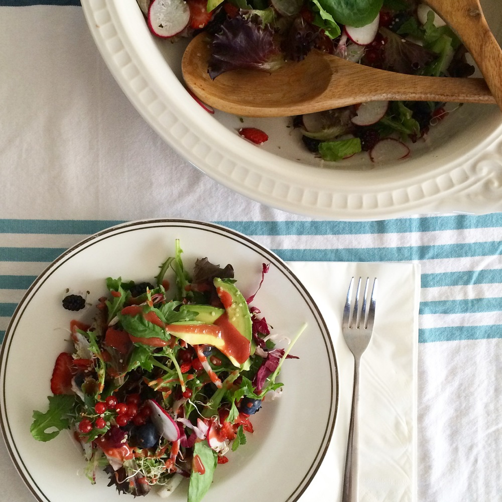 Berry Abundance Salad with Strawberry Vinaigrette on My Natural Kitchen
