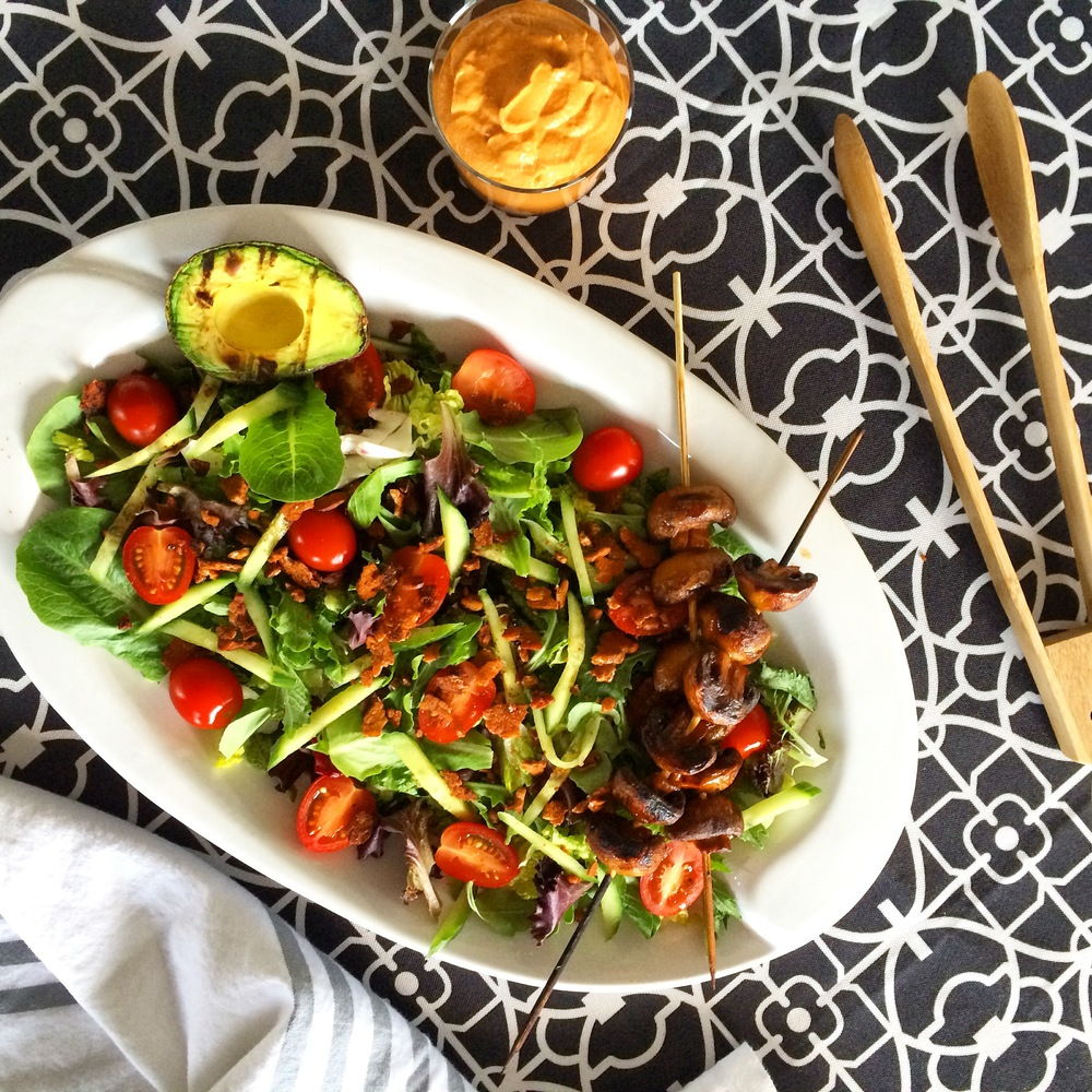 Tempeh BLT Salad with Smokey Marinated Mushrooms, Grilled Avocado & Creamy Cashew Tomato Dressing