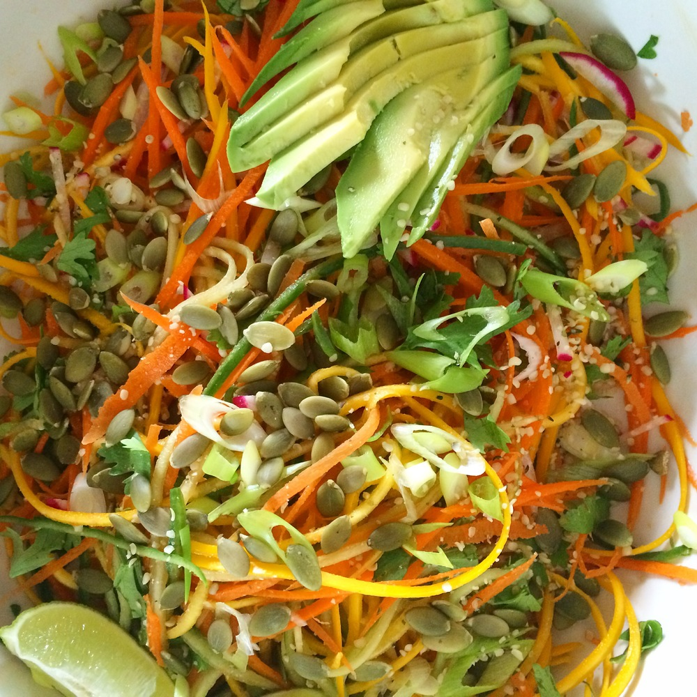 Vegetable Noodle Salad with Lime & Ginger Peanut Dressing - My Natural Kitchen (gluten free, vegan, high raw)