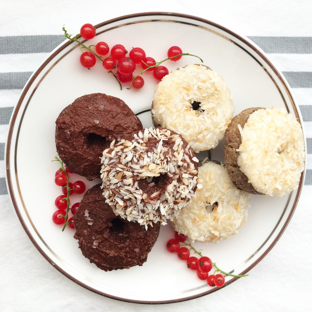 Coconut Frosted Vanilla Donuts & Double Chocolate Donuts with Fleur de Sel (gluten free, vegan, raw) // My Natural Kitchen