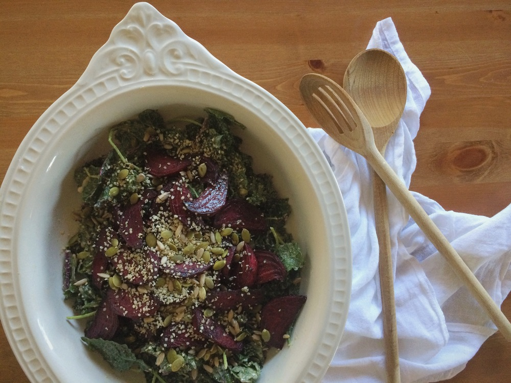 Balsamic-Roasted Beets & Kale Salad with Maple Tahini Dressing (gluten free, vegan) - My Natural Kitchen
