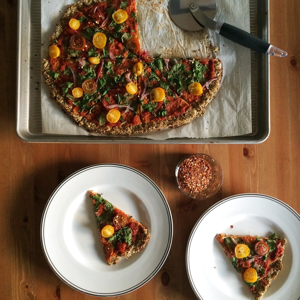 Cauliflower & Pepita Crust Pizza - gluten free, grain free, vegan - My Natural Kitchen