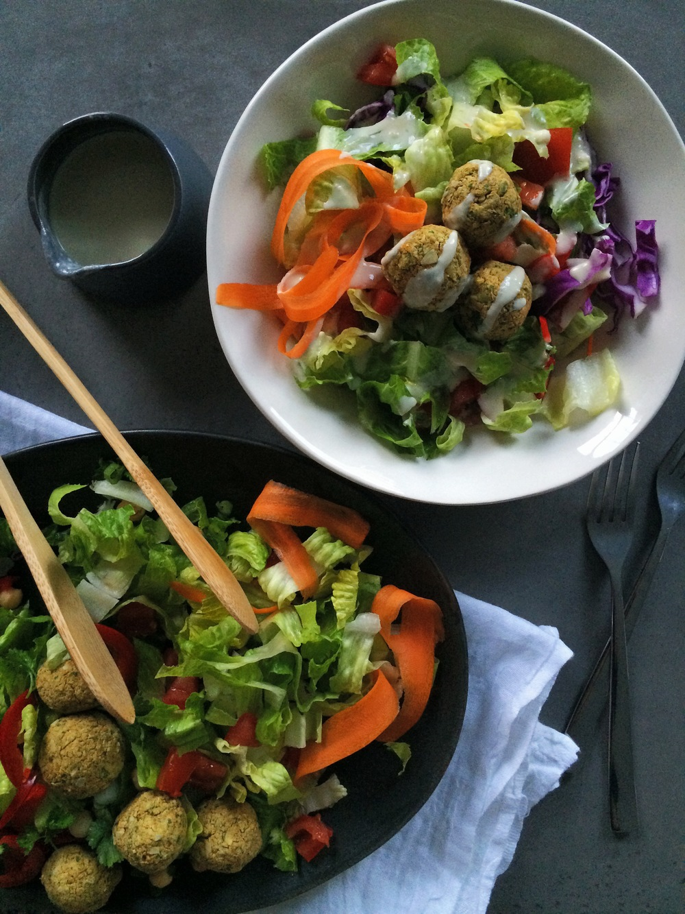Parsley & Pepita Falafel Salad with Garlic Tahini Dressing (gluten free, vegan, grain-free) // My Natural Kitchen