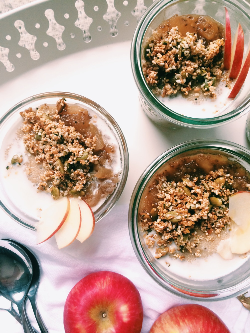 Amaranth Porridge with Spiced Apple & Pear Compote and Crunchy Seed Topping (gluten free, vegan, nut-free) - My Natural Kitchen