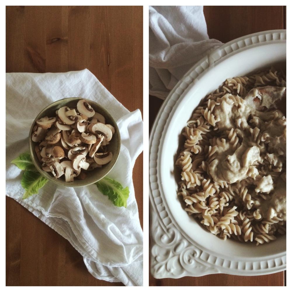 Creamy roasted garlic + cauliflower pasta with sautéed mushrooms + kale (gluten-free, dairy-free, vegan option) // my natural kitchen