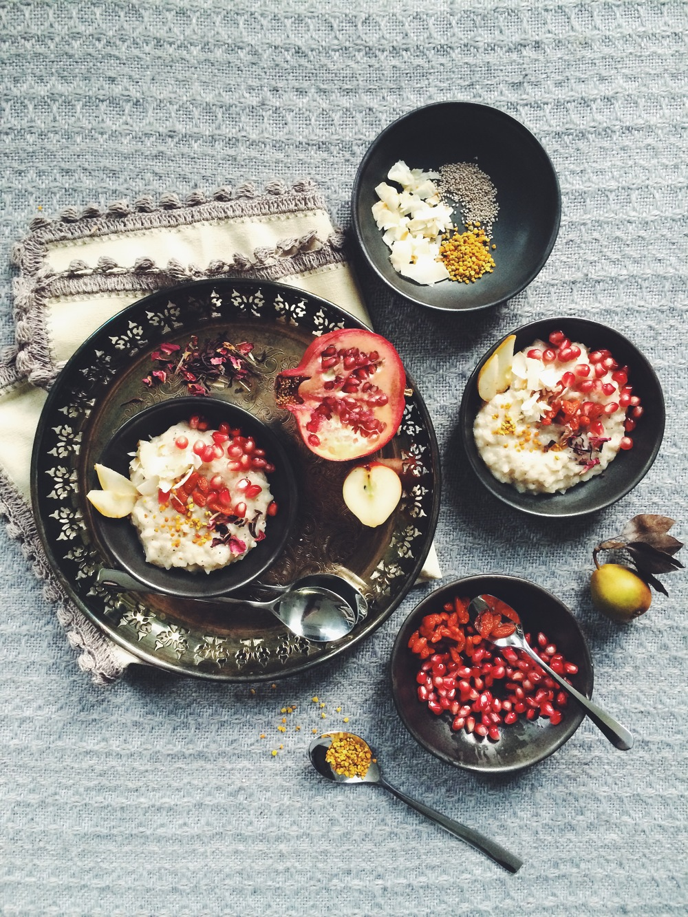Coconut Rice Pudding with Rosewater & Vanilla + Superfood Sprinkles (gluten free, dairy-free, vegan option)