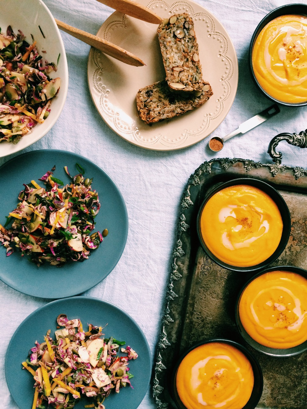 roasted carrot + parsnip soup and brussels sprout, apple, + golden beet salad with mustard maple dressing  // my natural kitchen (seasonal healthy gf & v recipes)