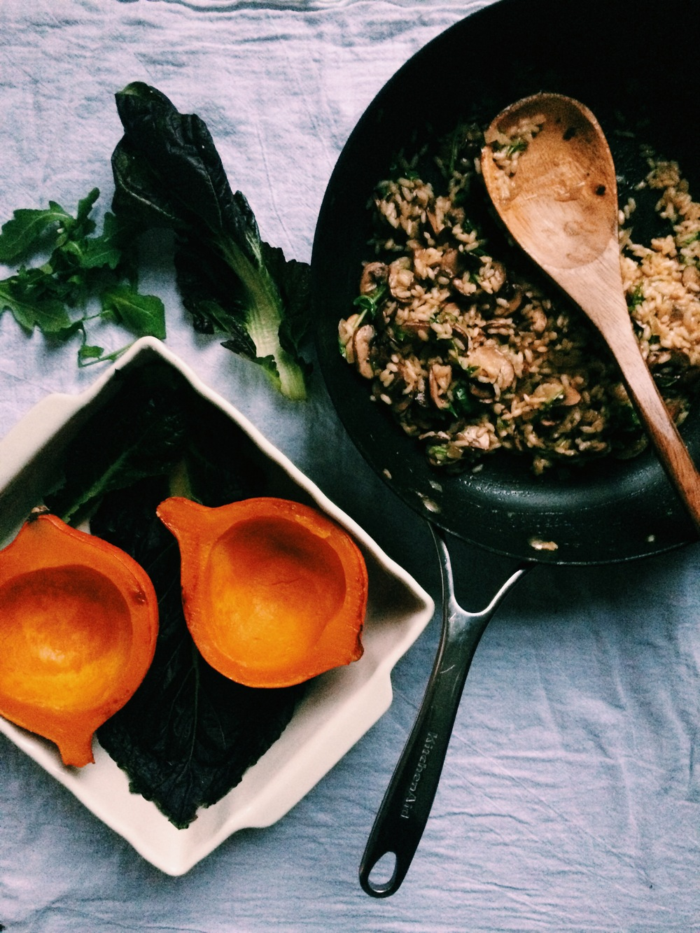 Roasted Red Kuri Squash with Mushroom + Spinach Risotto (gf, vegan) // my natural kitchen