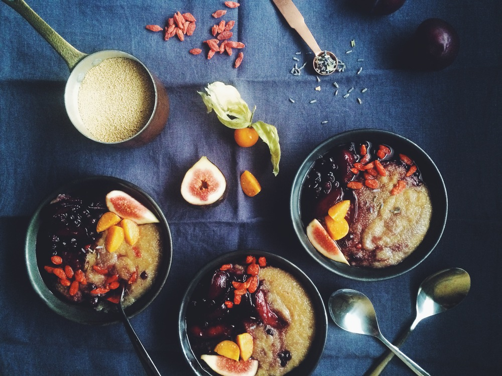 Baked Amaranth Porridge with Plum, Blueberry + Lavender Compote (gf + v) // my natural kitchen