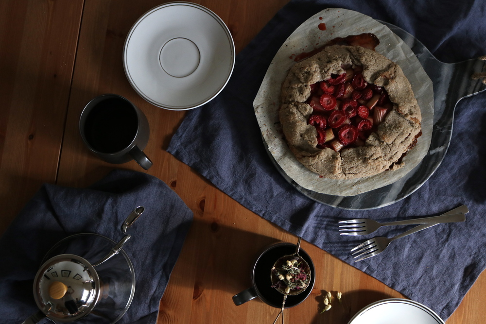 rustic strawberry, rhubarb + jasmine flower galette (gf) and homemade floral tea by My Natural Kitchen