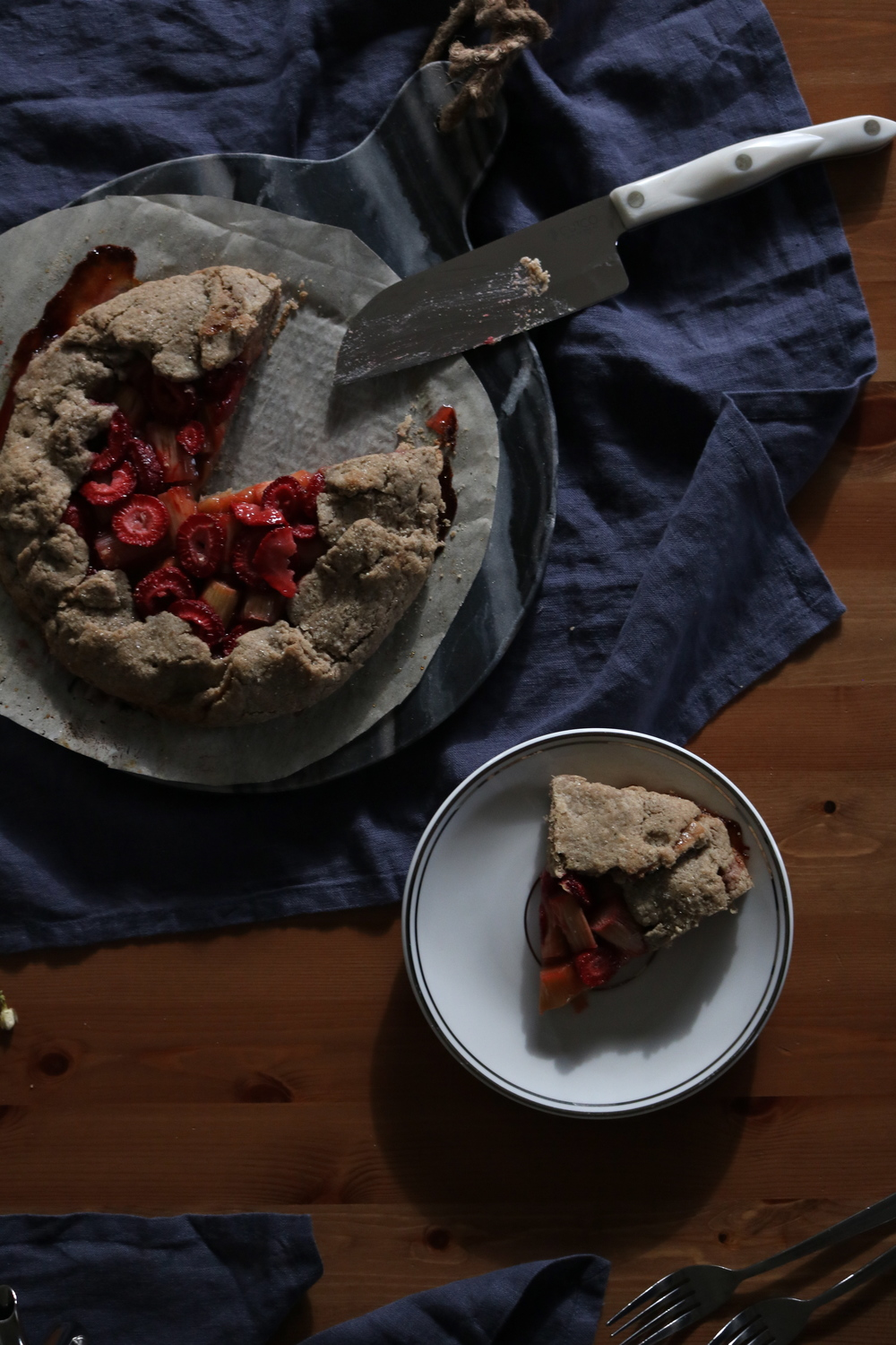 rustic strawberry, rhubarb + jasmine flower galette (gf) by My Natural Kitchen